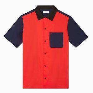Calvin Klein Classic Fit Colorblock Sateen Shirt